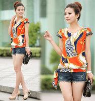 Women Blouses Top Fashion Sale Appliques Regular Rayon 2014 Spring Summer Shell Retro Short-sleeved Chiffon Shirt free Shipping