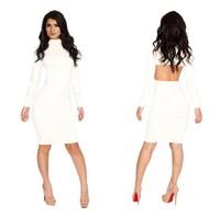 Free shipping 2014 New Fashion Women Pure White Elegant Long Sleeve Knee Length Casual Dress KM070 S M L Plus Size
