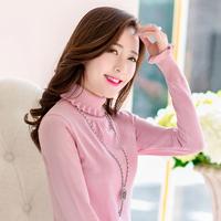 2015 Hot Sale Top Regular Slim Turtleneck Pullover Sweater Female Medium-long Ruffle Knitted Long-sleeve Basic Shirt Thickening