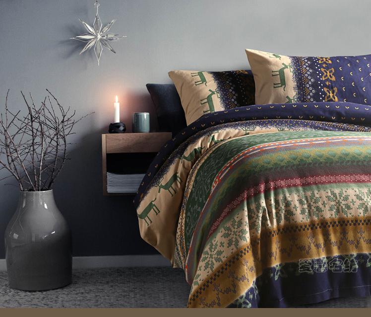 Flyac escovado família de quatro de natal cervos inverno quente cama de algodão grosso 4 pcs fronhas / folha de cama / set capa de edredão(China (Mainland))