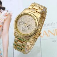 Gold Dial Stainless Steel Band Rhinestone Dress Watch High Quality Quartz Watch Woman Men Watch Golden Unisex watch