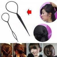 New Fashion  2* Plastic Topsy Tail Hair Braid Ponytail Styling Maker Clip Tool Black