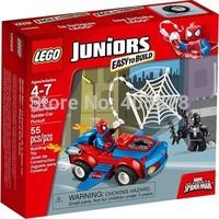 Original Brand Lego Blocks Bricks Learning Educational Models&Building Classic Toys 10665 juniors series Spider Man-Car Pursuit