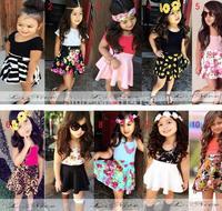Flower Girl 2 Pcs Sets Vest+Skirt Suit 2015 New Korean Fashion girls Clothing Set Cotton Casual  Infant Girls Kids Clothes suits