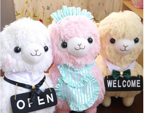 Free Shipping 42cm 4 kinds Kawaii Japan Amuse Alpacasso Coffee Shop Waiter Alpaca Plush Mud Horse Soft Toys for Children(China (Mainland))