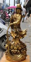 "27"" China Bronze Gold Gilt Kwan-yin Guanyin Guan Yin Vase On Lotus Buddha States"
