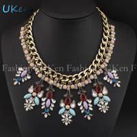 Newest Romantic Classic Vintage Chain Delicate Rhinestones Flower Pendant Necklace For Women Dress Fashion Accessories N2567