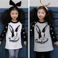 EMS DHL Free Shipping 2015 spring and autumn girls golden Spot Polka Dot Cotton long sleeved sweater rabbit T shirt White Grey