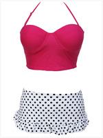 Free Shipping 2015 New Hot Sale Fashion Sexy Women Pink Top High-waisted Bottoms Bikini Swimsuit Swimwear Size S/M/L/XL NA41014