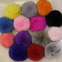 12 Colors New Big 8cm Big Geniune Rabbit Fur Quality Soft Fur Balls Keyrings Tag KeyChain Keyfob fashion accessories