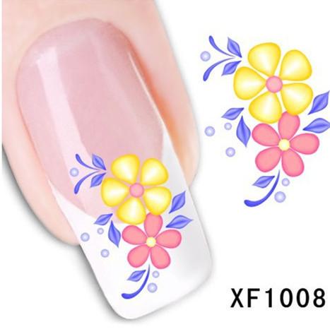 1Pcs Nail Art Water Sticker Nails Beauty Wraps Foil Polish Decals Temporary Tattoos Watermark + Free Shipping (XF1008)(China (Mainland))