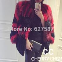 2015 Hot sale design feels Luxurious European Women's Natural Fox Fur Jacket Female winter warm Outerwear Three Quarter Sleeve