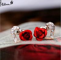 Italina Rigant Beautiful Rose Flower Heart Stud Earrings With Rhineston Environmental Alloy Brincos Earrings For Women