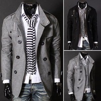 Casual Men Slim Winter Warm Trench Coat Jacket Woolen Button Outwear Asia Size M-3XL(Asia size you choose,refer size table)