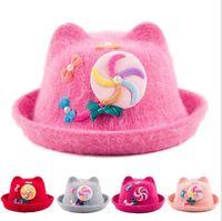 Children's Hats Wool Curling Warm Winter Baby Hat Caps Korean Cartoon Cap For Girls 3-8 Years Accessories