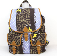 2015 Women Floral Printing Backpack Canvas Backpack Classic European Style School Backpack Free Shipping H007 brown