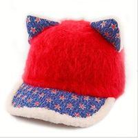Children Cat Ears Hats Autumn Winter Baby Wool Baseball Cap Child Warm Caps Beanie Bucket Hat For Girls Boys