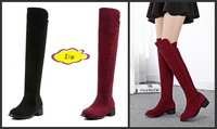 2014 Winter Fashion Women Boots over-the-knee Flock low heels Boots Round toe Zip Boots woman red Size 35-41 Warm boots SNF