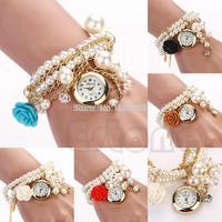 Fashion Lady Women Faux Pearl Rose Bracelet Wrist Analog Quartz Round Dial Watch