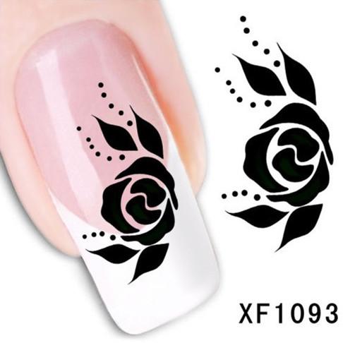 1Pcs Nail Art Water Sticker Nails Beauty Wraps Foil Polish Decals Temporary Tattoos Watermark + Free Shipping (XF1093)(China (Mainland))