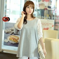 6022#2015 stitching loose spring summer new style lace five-Sleeve plus size casual T- shirt