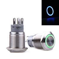 One Blue Illuminated Metal Switch DC 12V Car LED Light ON-OFF Toggle Switch New