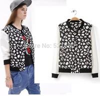 2015 spring fashion irregular pattern print baseball uniform casual loose stand collar jacket outerwear