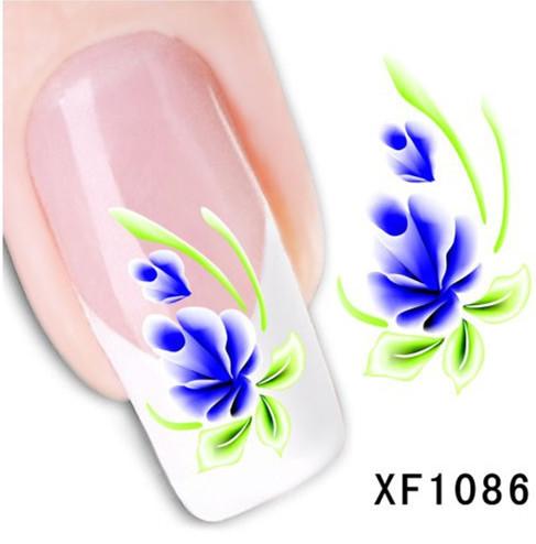1Pcs Nail Art Water Sticker Nails Beauty Wraps Foil Polish Decals Temporary Tattoos Watermark + Free Shipping (XF1086)(China (Mainland))