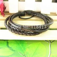 Wholesale punk style braided wax leather bracelet company gift FREE SHIPPING