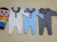 Classic Baby Footies Spring/Fall High Quality 100%Cotton Long Sleeve Plaid Collar Infant One-Pieces Newborn Bodysuits 6pcs/lot