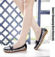 2015 women flat shoes with round head flat shoes lighter leopard grain shoes antiskid women casual shoes comfortable apartment