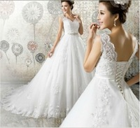 Vintage A-Line Lace Wedding Dress Custom Made Plus Size Bridal Gown 2015 New Design