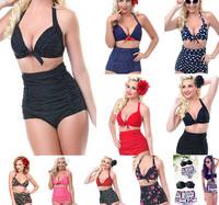 Hot Women Retro High Waist Bikinis Push-up Pin Up Padded Sexy Vintage Bikini Sets Swimsuit Bathing Suit Beachwear Swimwear S-XXL