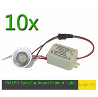 Free shipping 10pcs 1W LED Mini Cabinet Light Spotlight with Driver Display recessed Warm White/cool white AC90-265V