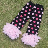 lace knitted with dot children leg warmer girls warm sock