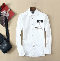 Free Ship Mens Shirts Fashion 2014  2015 Top Quality Big Size Pure Cotton Casual Dress Shirt Casual Red Blue White S M L XL