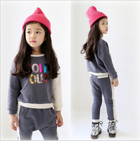 Retail 2015 Spring Girls' Suits Sets Long Sleeves Clothing Kids Letter T-shirt+pants Children Clothing Sets children's wearAB648