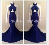 Elegant Women Luxury Halter Evening Dress 2014 Hot Selling Backless Bandage Mermaid Dress Long Party Dresses Vestido De Festa