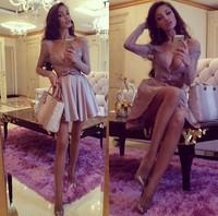 Deep V Sexy club Party Dress 2015 Fashion Noble Women Dresses Long Sleeve Slim Casual Dress Vestidos Women Clothing LD39008