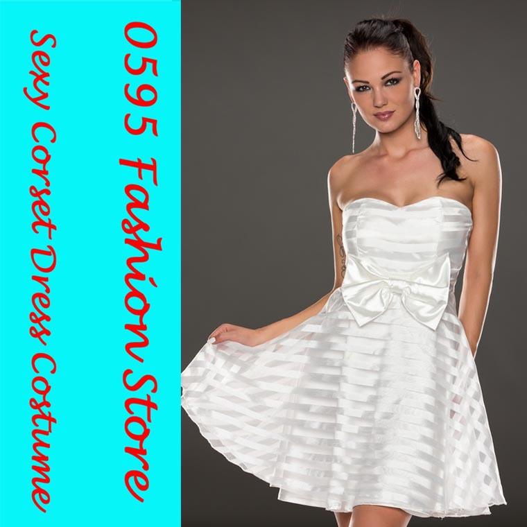 Woman White Ribbon And Mesh Strips Strapless Skater Dresses HL21658-1(China (Mainland))