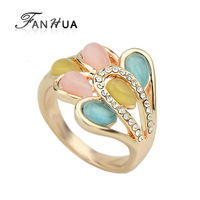 Anel De Pedra Colorful  Rhinestone Simulated Gemstone Rings Anillos Mujer For Women Acessorios Para Mulher