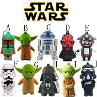 10 Style Star Wars Model Yoda R2D2 Darth Maul Vader Boba Fett Soldier USB Flash Drive Pen Drive 8GB 16GB 32GB 64GB Pendrive