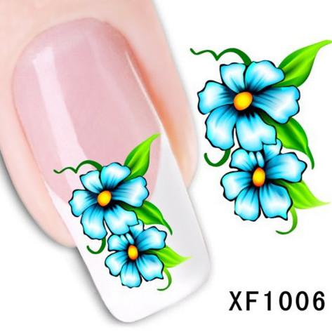 1Pcs Nail Art Water Sticker Nails Beauty Wraps Foil Polish Decals Temporary Tattoos Watermark + Free Shipping (XF1006)(China (Mainland))