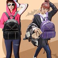 Big capacity Classical Bat pattern bag women leather backpacks fashion women school bag