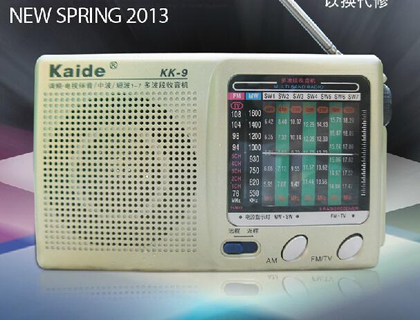 Kaide KK-9 full-band FM radio portable radios for old man free shipping(China (Mainland))