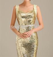 2015New Design HOT sale Free Shipping Sparkle Diamond Paillette Sexy Slim Champagne LaceFashion Evening dress vestido de noite