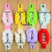 Wholesale  Baby girls elastic lace Headband with Rhinestone Mix color 25pcs/Lot