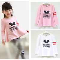 5pcs/lot kids girls fashion new 2015 cartoon Micky letter print long sleeve t-shirt children cotton casual flare bouse clothes
