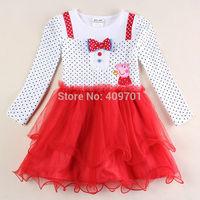Baby girls dress for girl clothes peppa pig clothing kids clothes nova brand children bow peppa pig dress princess tutu dress