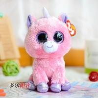 Free shipping 1pcs Ty cute big eyes pink Unicorn plush toy height 15 cm cute stuffed doll Children's Day gift